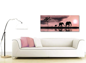 Contemporary Blush Pink African Sunset Elephants Canvas Wall Art Print Modern 120cm Wide For Your Kitchen-1361