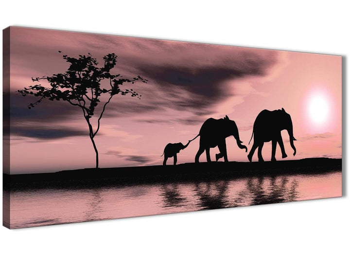 Oversized Blush Pink African Sunset Elephants Canvas Wall Art Print Modern 120cm Wide For Your Living Room-1361