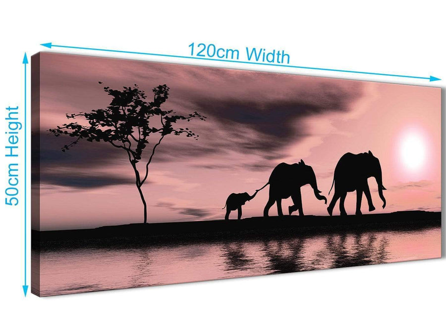 Panoramic Blush Pink African Sunset Elephants Canvas Wall Art Print Modern 120cm Wide For Your Living Room-1361