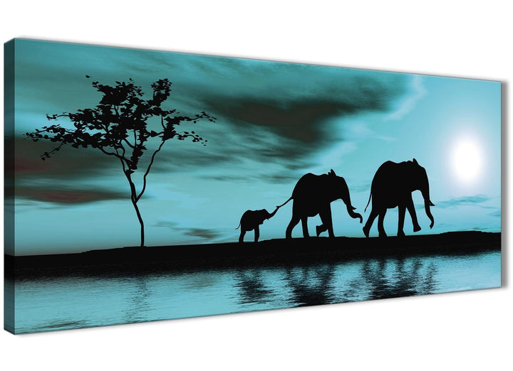 Oversized Teal African Sunset Elephants Canvas Wall Art Print Modern 120cm Wide For Your Kitchen-1362