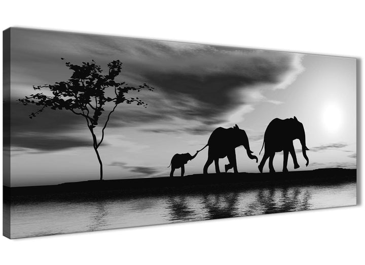 Oversized Black White African Sunset Elephants Canvas Wall Art Print Modern 120cm Wide For Your Kitchen-1363