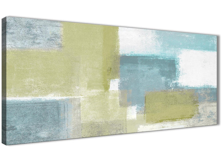 Oversized Lime Green Teal Abstract Painting Canvas Wall Art Print Modern 120cm Wide For Your Living Room-1365