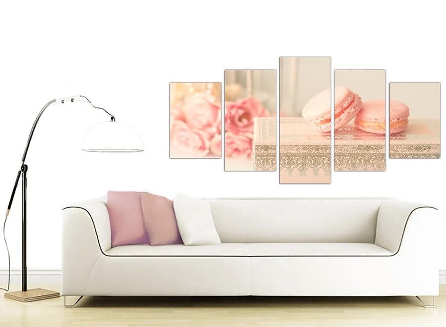 contemporary extra large pink cream french shabby chic bedroom abstract canvas split 5 set 5284 for your girls bedroom