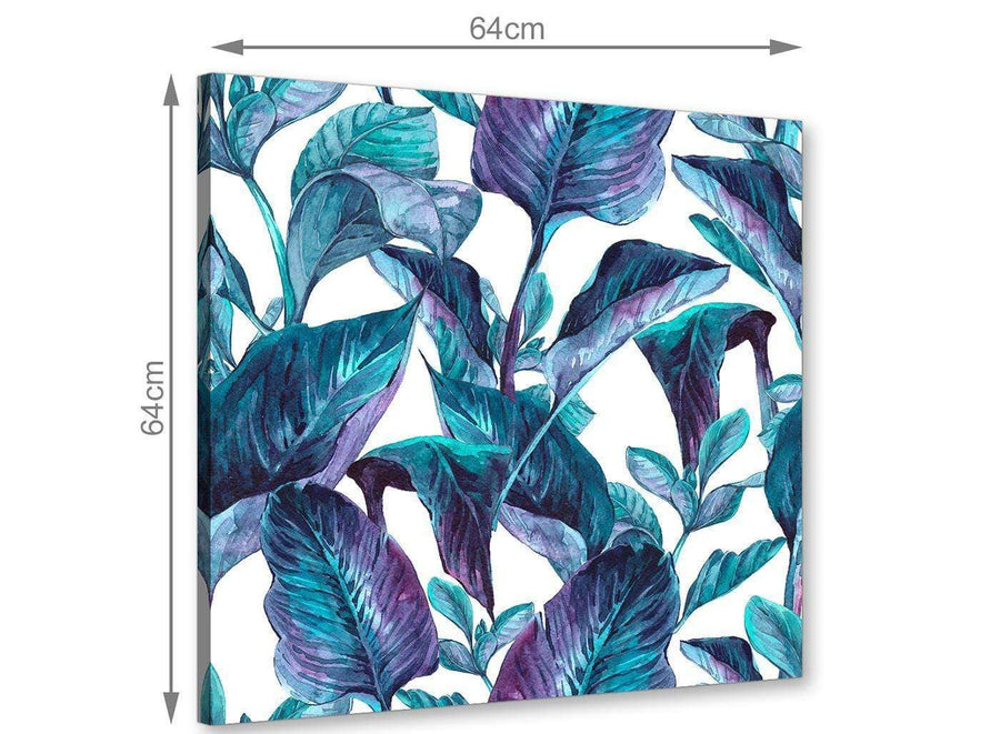 Chic Turquoise And White Tropical Leaves Canvas Modern 64cm Square 1S323M For Your Dining Room