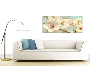 contemporary japanese cherry blossom duck egg blue white floral canvas modern 120cm wide 1289 for your girls bedroom