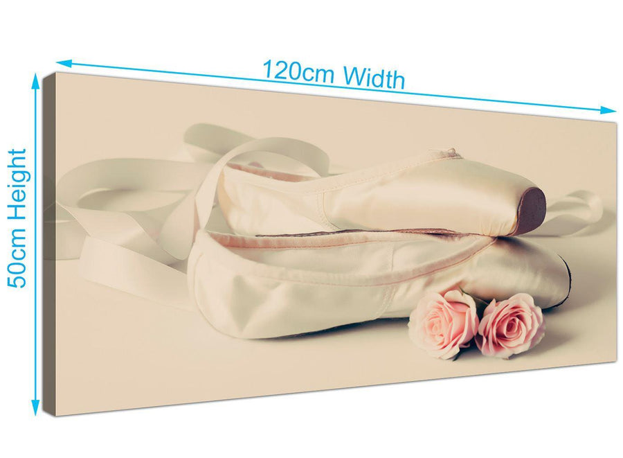 panoramic ballet shoes pink cream shabby chic girls bedroom lifestyle canvas modern 120cm wide 1283 for your bedroom