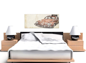 oversized vw beetle bug rat look surfer brown volkswagen lifestyle canvas modern 120cm wide 1279 for your office