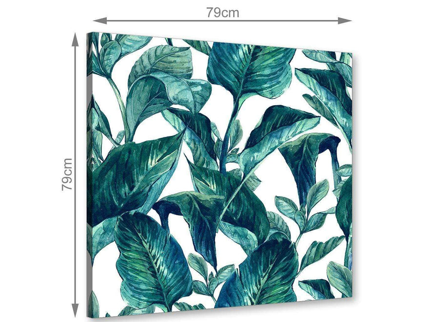 Chic Teal Blue Green Tropical Exotic Leaves Canvas Modern 79cm Square 1S325L For Your Living Room