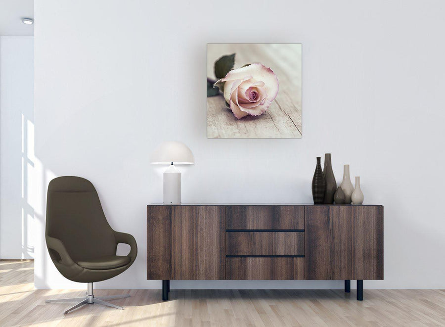 chic vintage shabby chic french rose cream floral canvas modern 64cm square 1s278m for your bedroom