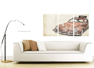 contemporary vw beetle bug rat look surfer brown volkswagen lifestyle canvas split 3 part 3279 for your bedroom