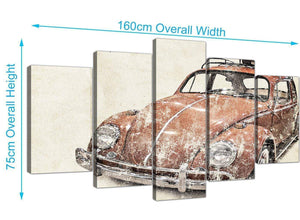 panoramic extra large vw beetle bug rat look surfer brown volkswagen lifestyle canvas split 5 part 5279 for your office