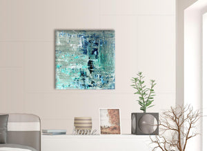 Contemporary Turquoise Teal Abstract Painting Wall Art Print Canvas Modern 64cm Square 1S333M For Your Hallway