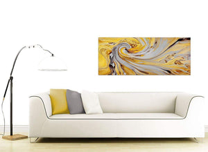 contemporary yellow and grey spiral swirl abstract canvas modern 120cm wide 1290 for your bedroom