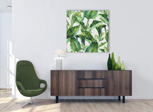 Green Palm Tropical Banana Leaves Canvas Wall Art Print - Modern 79cm Square - 1s324l