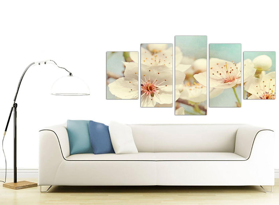 contemporary extra large japanese cherry blossom duck egg blue white floral canvas multi set of 5 5289 for your girls bedroom