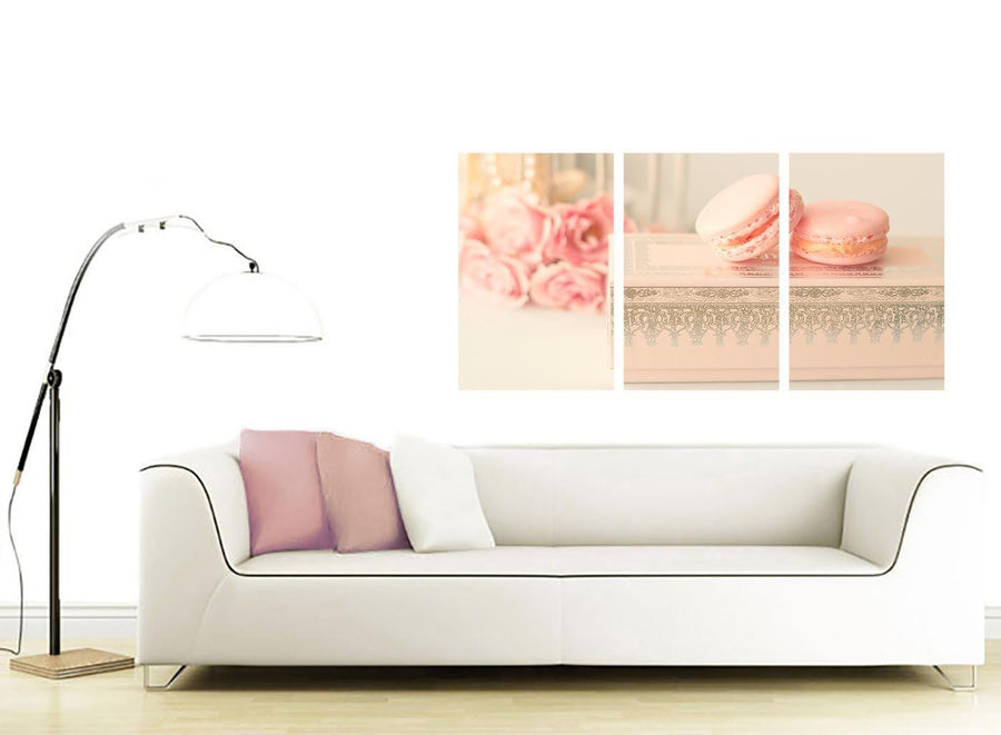 contemporary pink cream french shabby chic bedroom abstract canvas split triptych 3284 for your study
