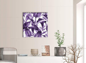 Contemporary Dark Purple White Tropical Exotic Leaves Canvas Modern 64cm Square 1S322M For Your Living Room