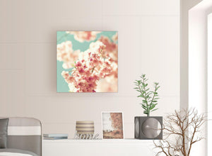 contemporary japanese cherry blossom shabby chic pink blue floral canvas modern 64cm square 1s288m for your girls bedroom