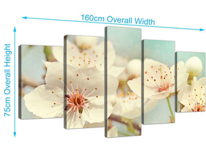 panoramic extra large japanese cherry blossom duck egg blue white floral canvas split 5 panel 5289 for your bedroom