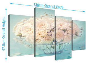 panoramic large duck egg blue and white roses flowers floral canvas multi 4 part 4286 for your dining room