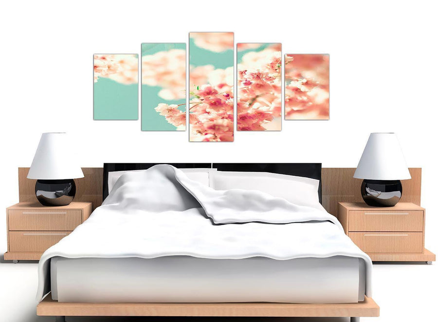 oversized extra large japanese cherry blossom shabby chic pink blue floral canvas multi 5 set 5288 for your living room