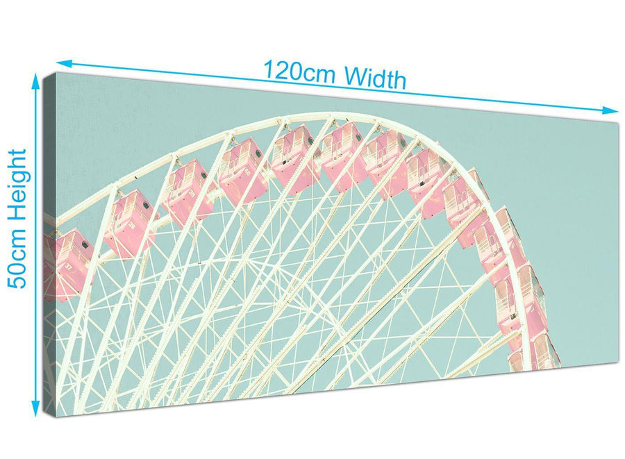 panoramic shabby chic duck egg blue pink ferris wheel lifestyle canvas modern 120cm wide 1282 for your girls bedroom