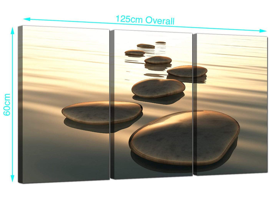 Set of 3 Abstract Pebbles Canvas Prints 125cm x 60cm 3046