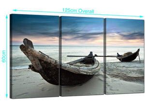 Set of 3 Thai Beach Boats Canvas Wall Art 125cm x 60cm 3107