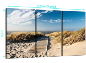 Set of 3 Seaside Canvas Pictures 125cm x 60cm 3197