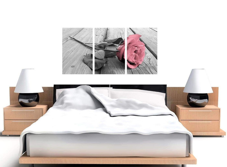 3 panel black white and pink rose canvas prints uk 3271