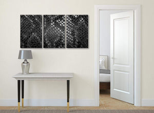3 Piece Black White Snakeskin Animal Print Office Canvas Wall Art Accessories - Abstract 3510 - 126cm Set of Prints