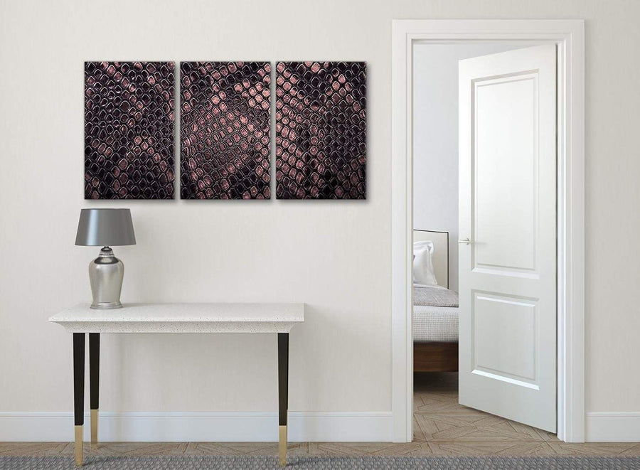 3 Piece Blush Pink Snakeskin Animal Print Kitchen Canvas Pictures Decor - Abstract 3473 - 126cm Set of Prints