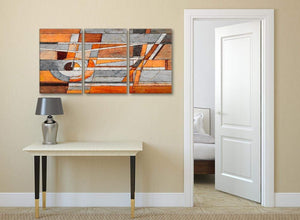 3 Piece Burnt Orange Grey Painting Office Canvas Pictures Accessories - Abstract 3405 - 126cm Set of Prints