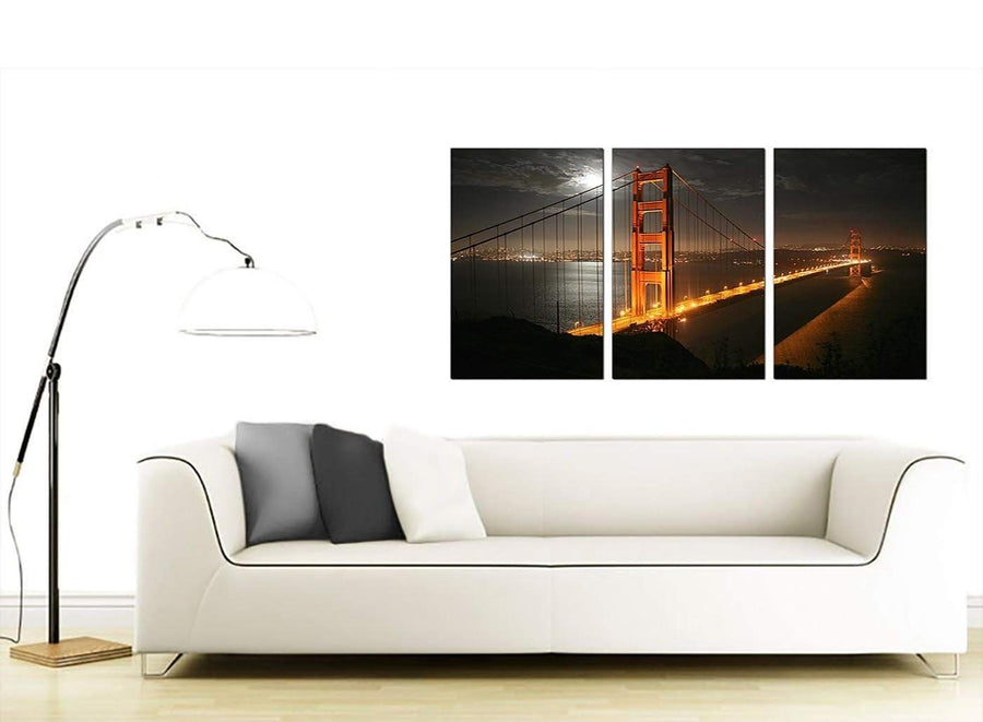 3 Panel American City Canvas Prints 125cm x 60cm 3038