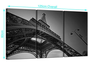 Set of Three Eiffel Tower France Canvas Wall Art 125cm x 60cm 3016