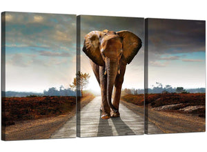 3 Panel Animal Canvas Wall Art African Elephant 3209