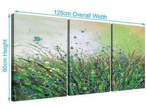 3 panel floral canvas pictures green 3261