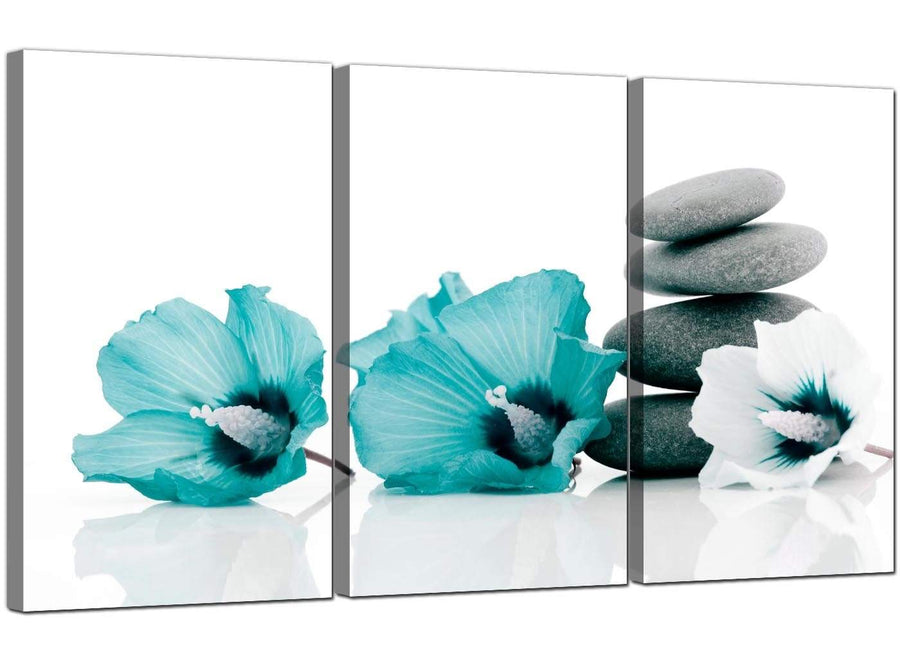 3 Part Floral Blue Green Canvas Pictures Hibiscus 3072