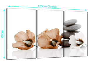 Set of 3 Flowers Canvas Pictures 125cm x 60cm 3073
