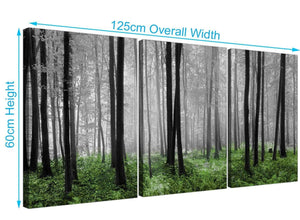 3 panel forest woodland trees canvas art black and white 3239