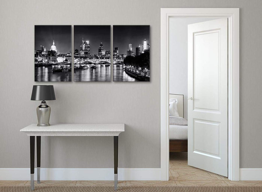 3 Piece Landscape Canvas Wall Art River Thames Skyline of London - 3430 Black White Grey 126cm Set of Prints