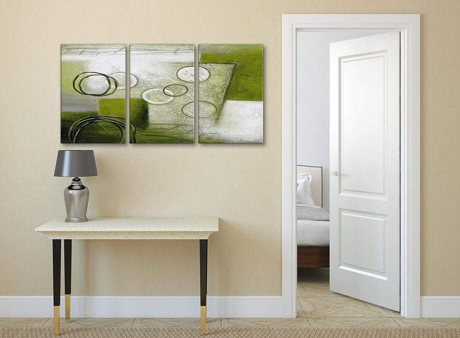 3 Piece Lime Green Painting Kitchen Canvas Wall Art Accessories - Abstract 3434 - 126cm Set of Prints