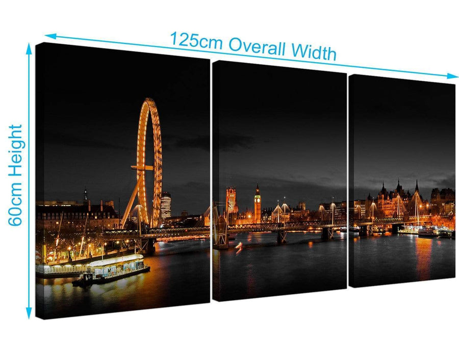 Set of 3 River Thames Canvas Prints UK 125cm x 60cm 3186