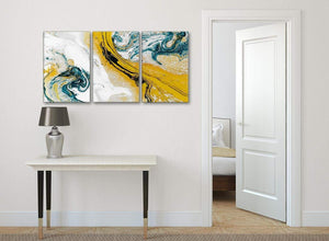 3 Piece Mustard Yellow and Teal Swirl Dining Room Canvas Wall Art Accessories - Abstract 3470 - 126cm Set of Prints
