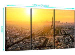 3 Panel Paris Eiffel Tower Canvas Prints 125cm x 60cm 3153