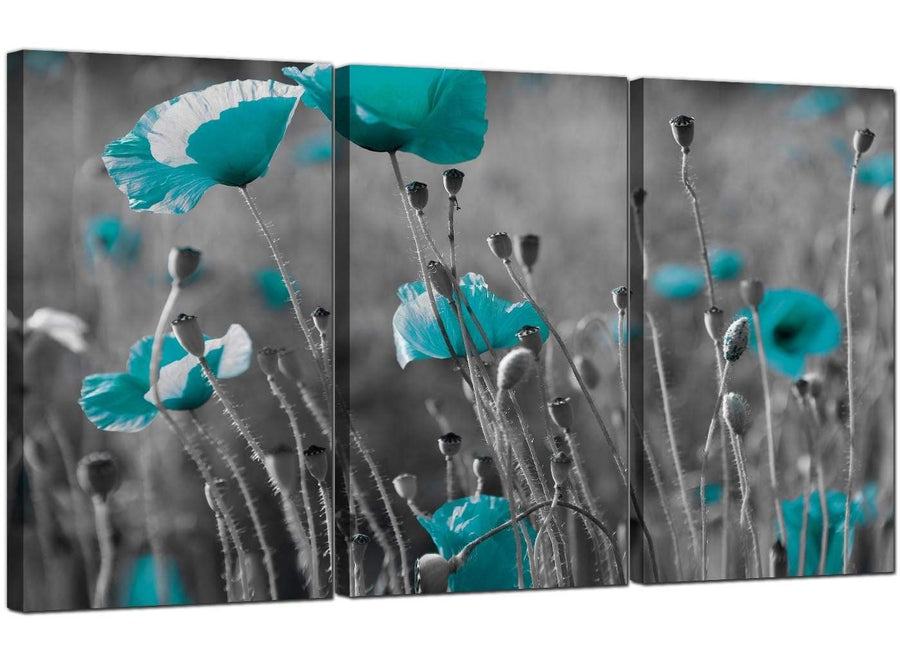 Set of Three Flowers Canvas Wall Art Blue Green Poppies 3139