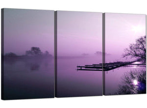 Set of Three Countryside Canvas Prints UK Misty Dawn 3119