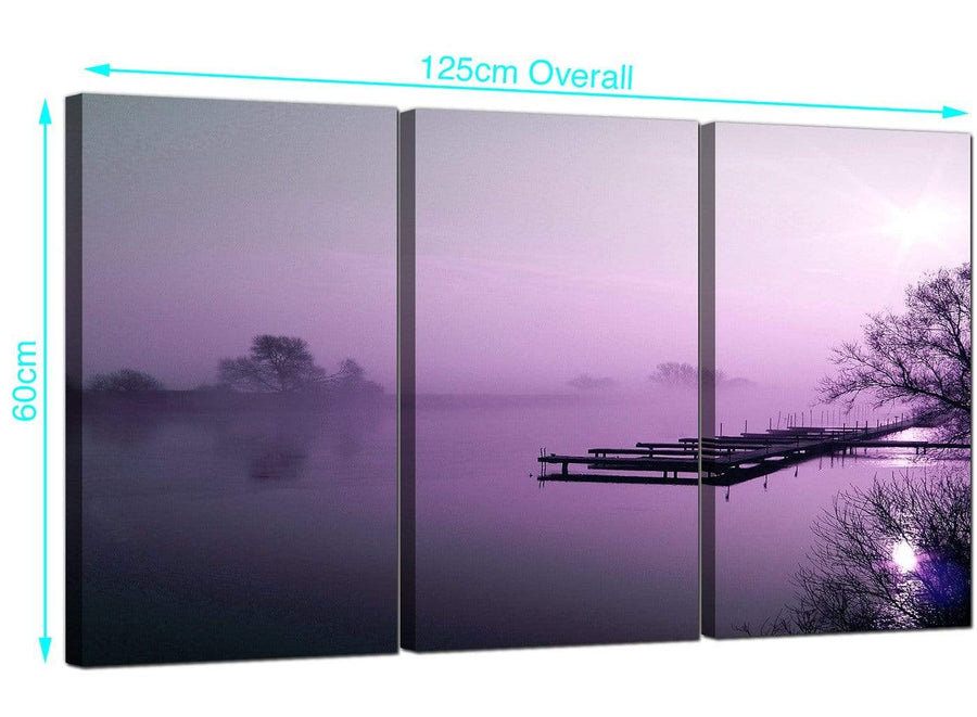Set of 3 River Landscape Canvas Art 125cm x 60cm 3119