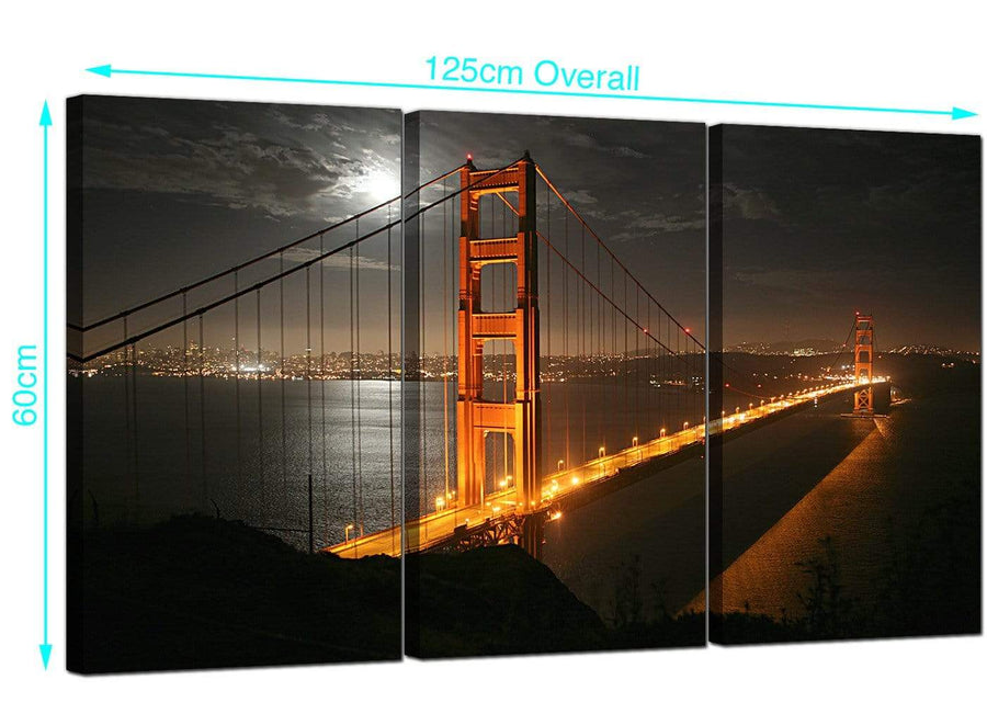 3 Panel San Francisco USA Canvas Prints 125cm x 60cm 3038