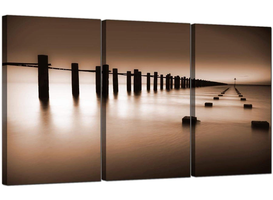 Set of 3 Seaside Canvas Wall Art Sea 3088